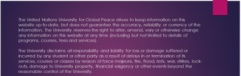 The United Nations University for Global Peace strives
